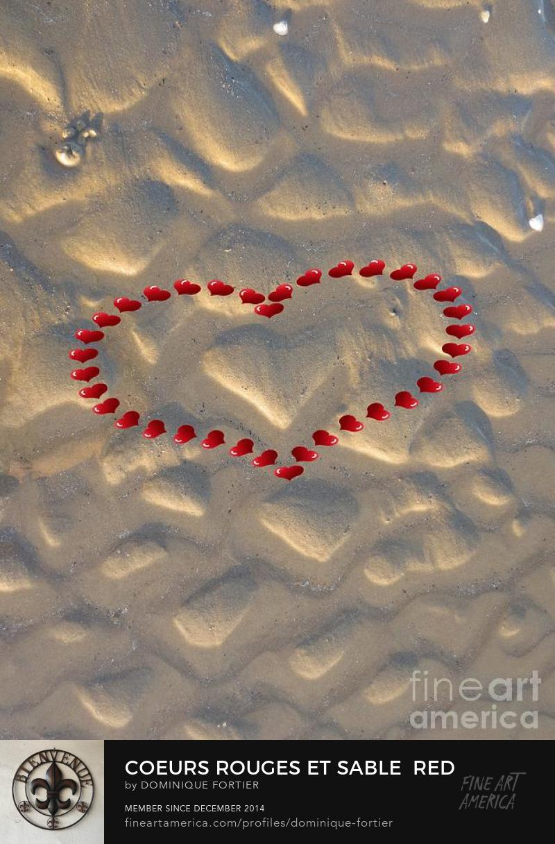 Coeurs rouges et sable / Red and Sand Hearts = travail numérique sur photo = image au titre bilingue français-anglais,Art Prints