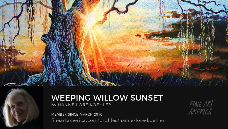 Weeping Willow Sunset Painting And Art Prints