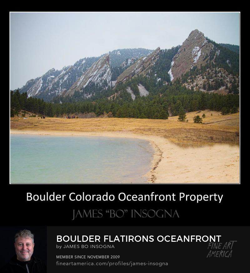 Boulder Flatirons Oceanfront Property Black Art Poster Prints