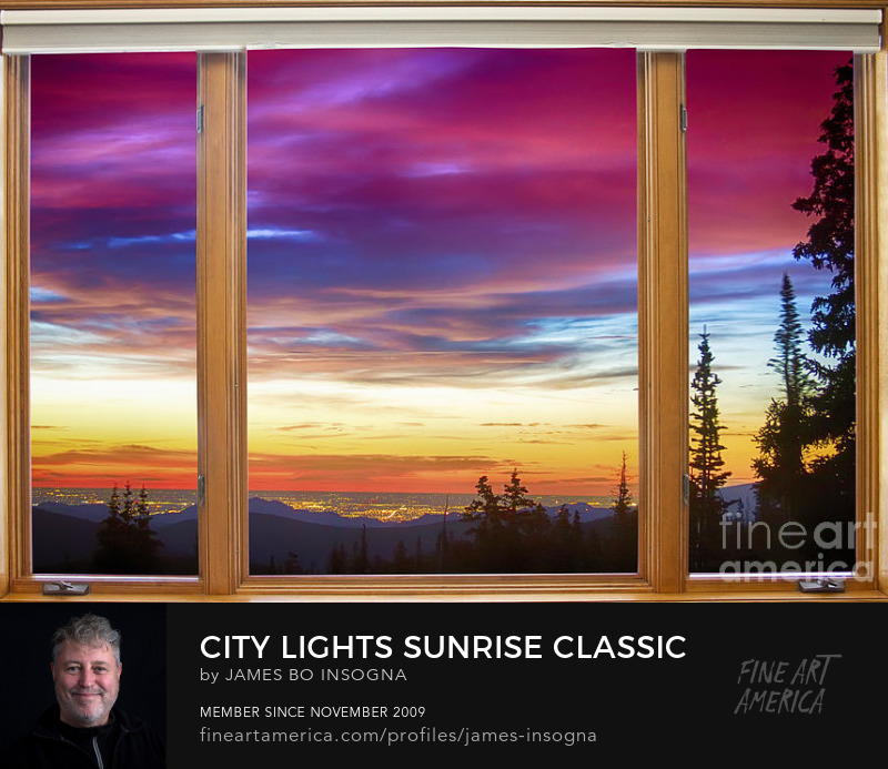 City Lights Sunrise Classic Wood Window View Print