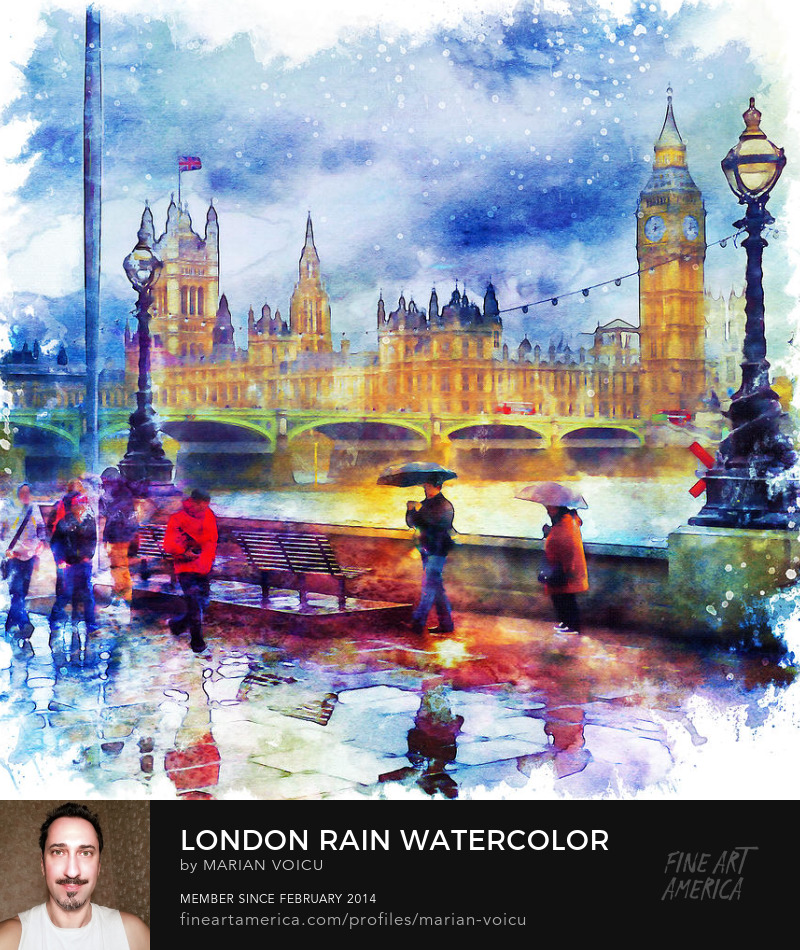 Watercolor painting of a rainy day in London