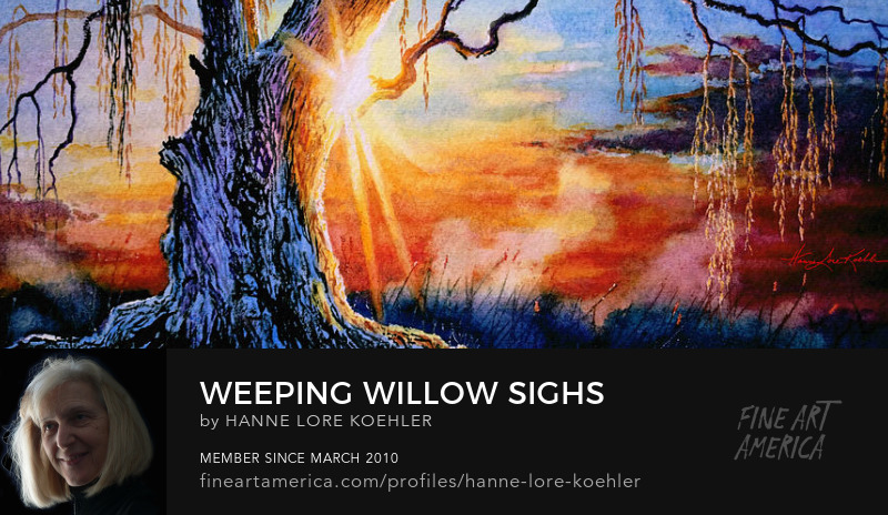 Weeping Willow Tree Misty Sunrise Art Prints