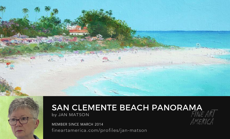 A panorama beach painting of San Clemente Beach