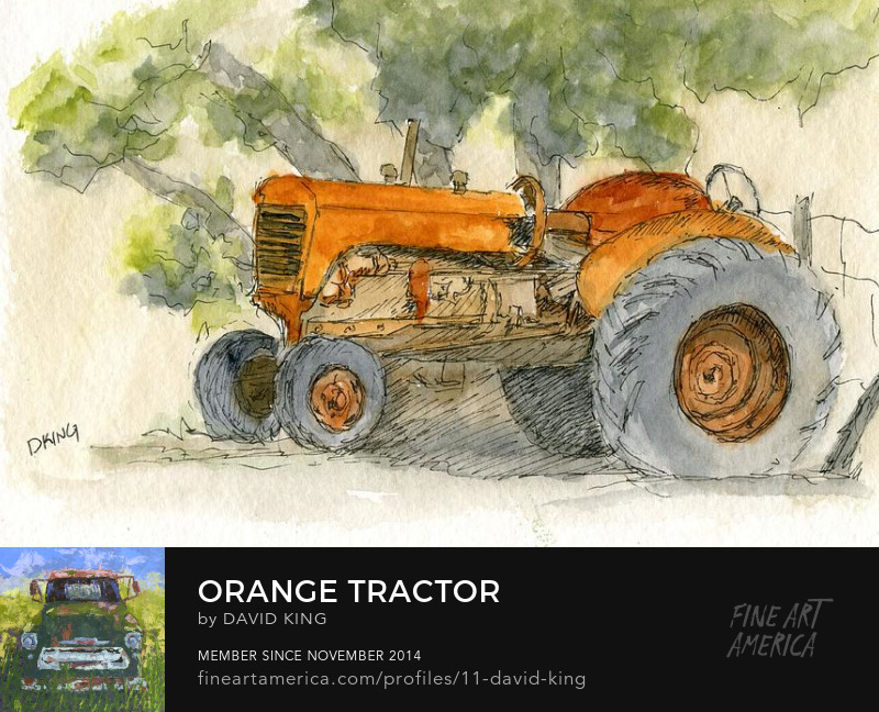 art sketch plein air watercolor tractor farm Wheeler Farm Moline