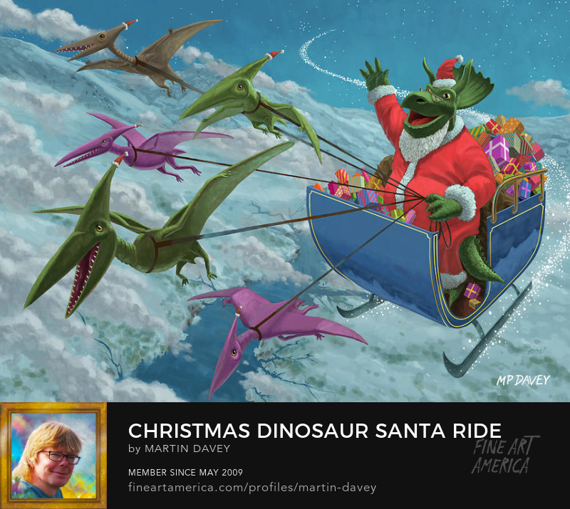 Christmas Dinosaur Santa Ride-digital painting