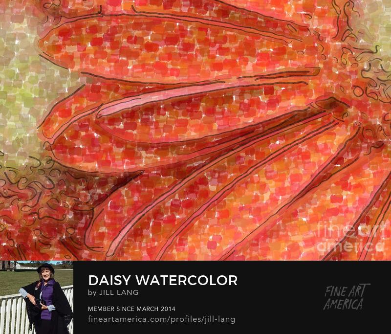 Watercolor Orange Gerber Daisy