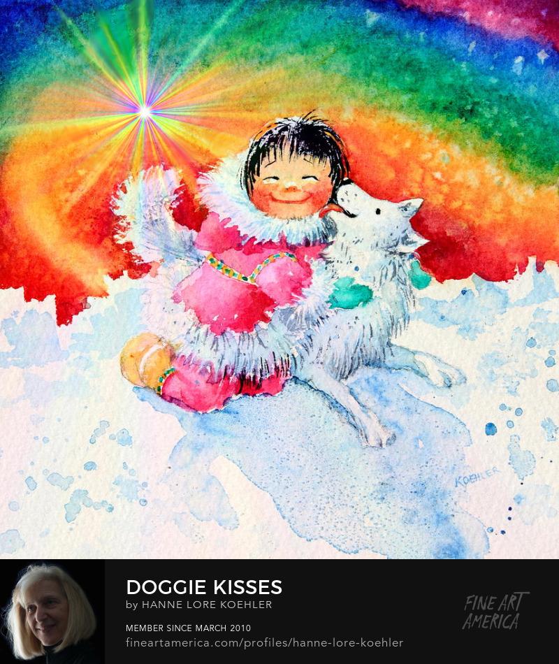Doggie Kisses Art Prints For Kids