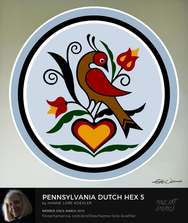 Pennsylvania Dutch Distelfink Folk Art Hex Design