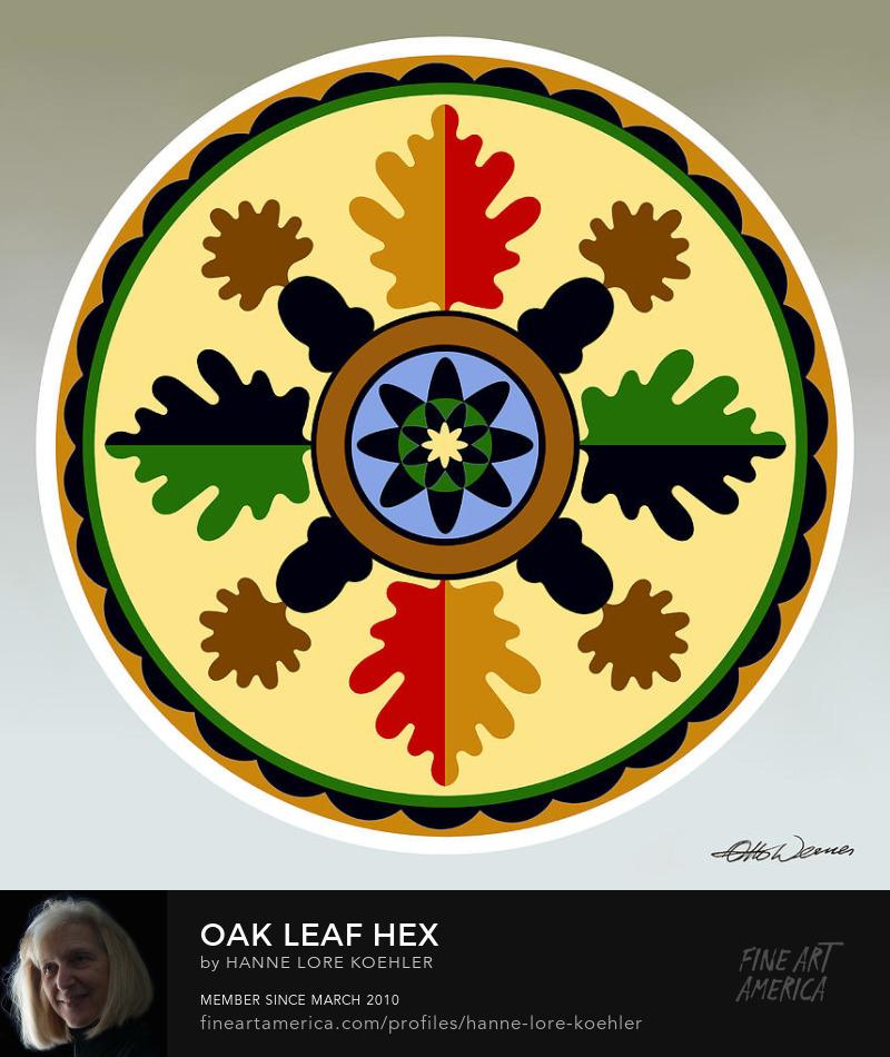 Mennonite Folk Art Oak Leaf Hex Design