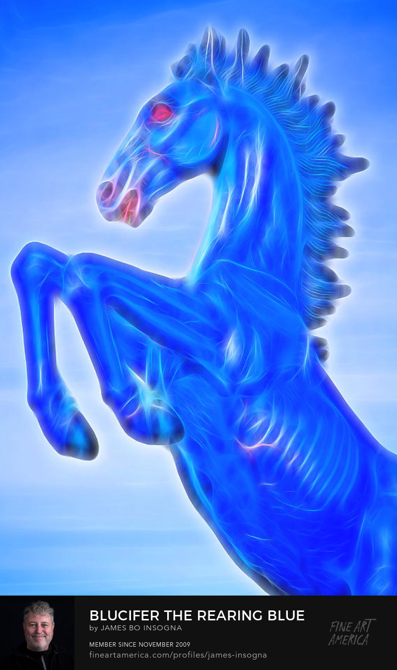 Blucifer The Rearing Blue Mustang Horse Art Print