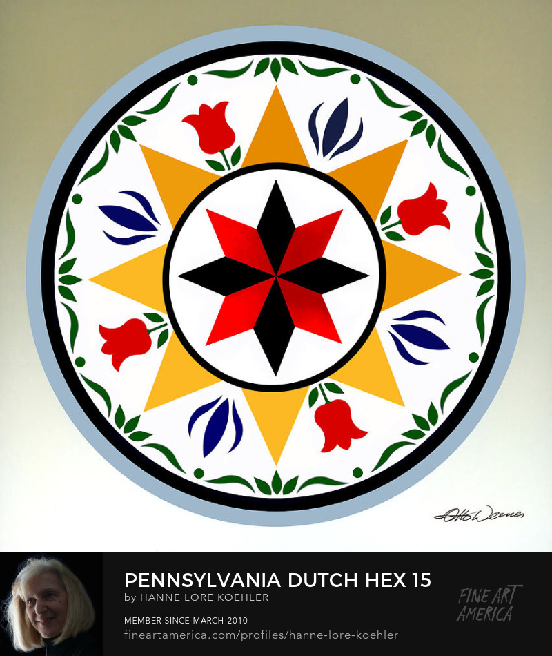 Pennsylvania Dutch Mennonite Hex Folk Art Design Prints