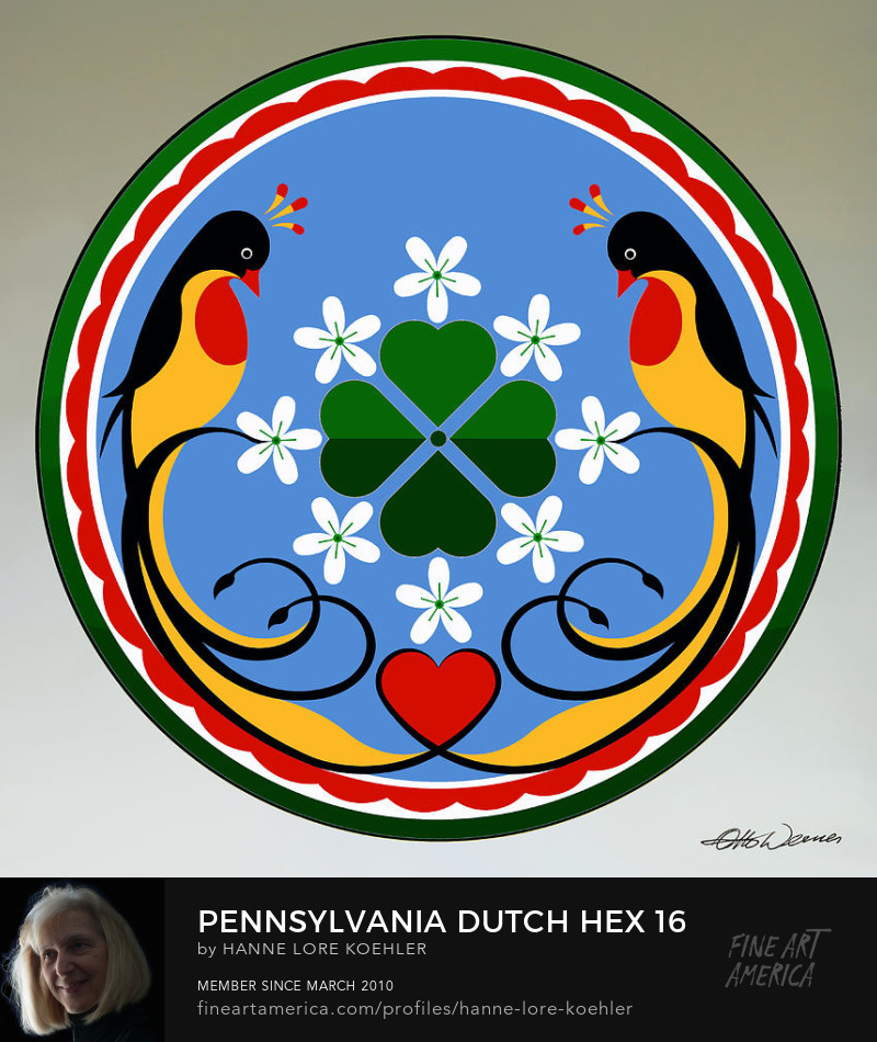 Irish Shamrock Mennonite Hex Folk Art Prints