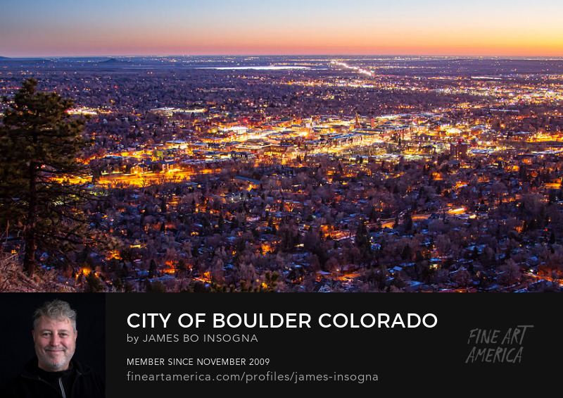 Boulder Colorado Downtown City Lights Scenic Sunrise Panorama Art Prints