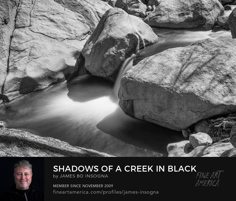 Shadows Of A Creek In Black And White Photography Prints