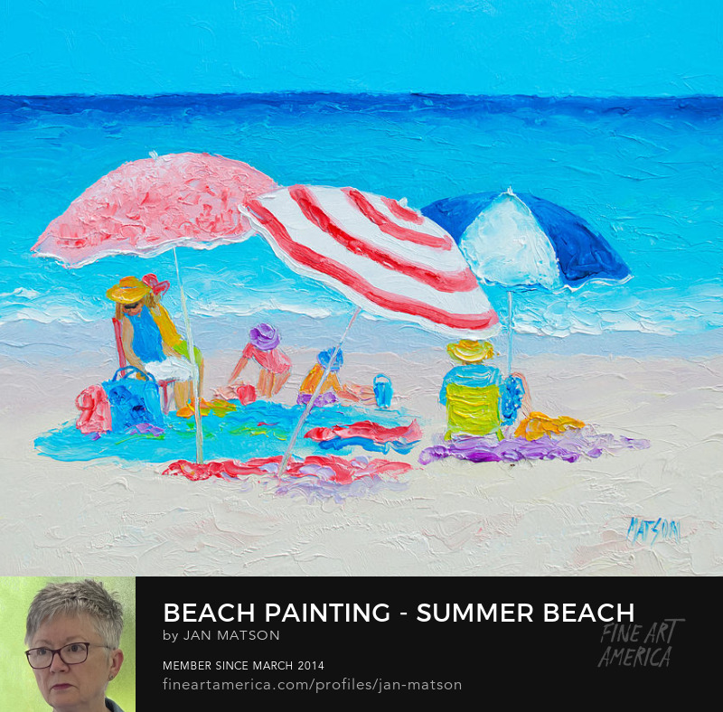 A beach painting of three umbrellas and a family enjoying the day