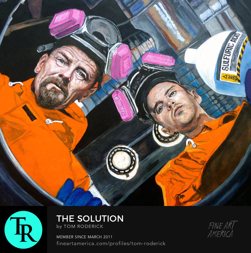 Walter White and Jesse Pinkman filling a barrel with the Solution by Boulder portrait artist Tom Roderick