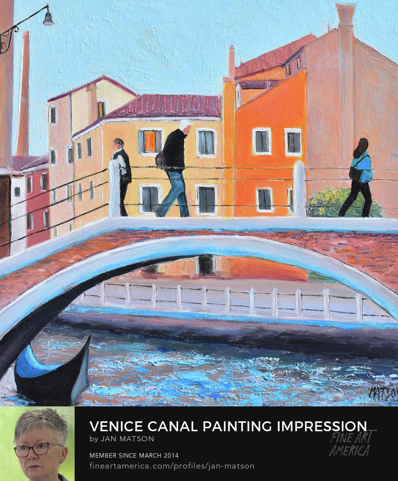 Venice and Tuscany Paintings - A painting of a bridge, canal and gondola in Venice
