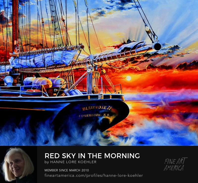 Red Sky In The Morning Bluenose Sunrise Painting