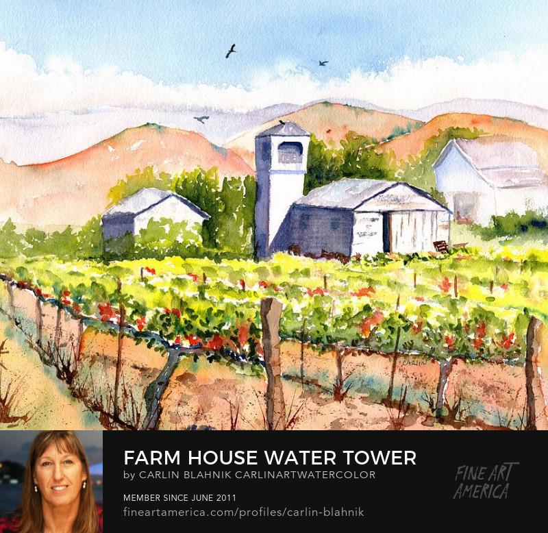 Vineyard Farmhouse Watercolor Painting Print by Carlin Blahnik