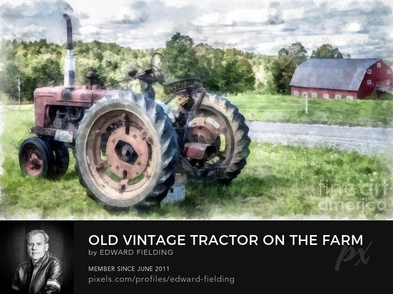 Tractor watercolor Art Online