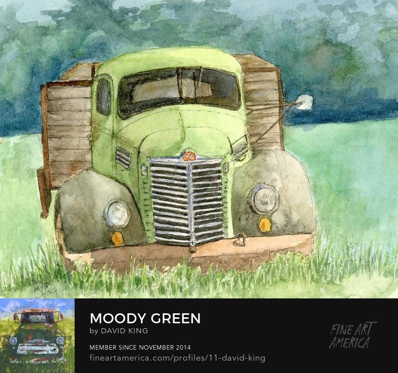art sketch painting watercolor truck abandoned green International Harvester