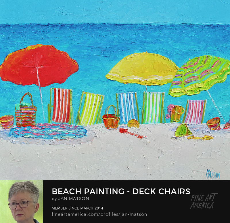 A beach painting of colorful umbrellas and deck chairs in front of a blue ocean.