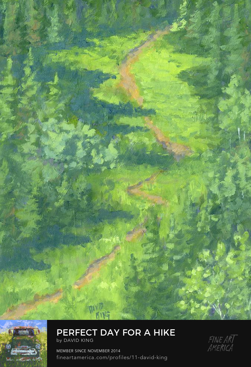 art painting landscape impressionism green spring mountain trail David King Studio