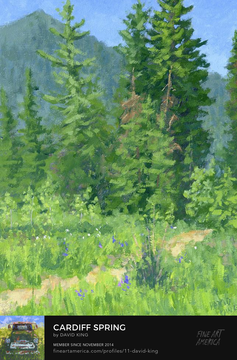 art painting impressionist mountain plein air spring evergreen David King Studio