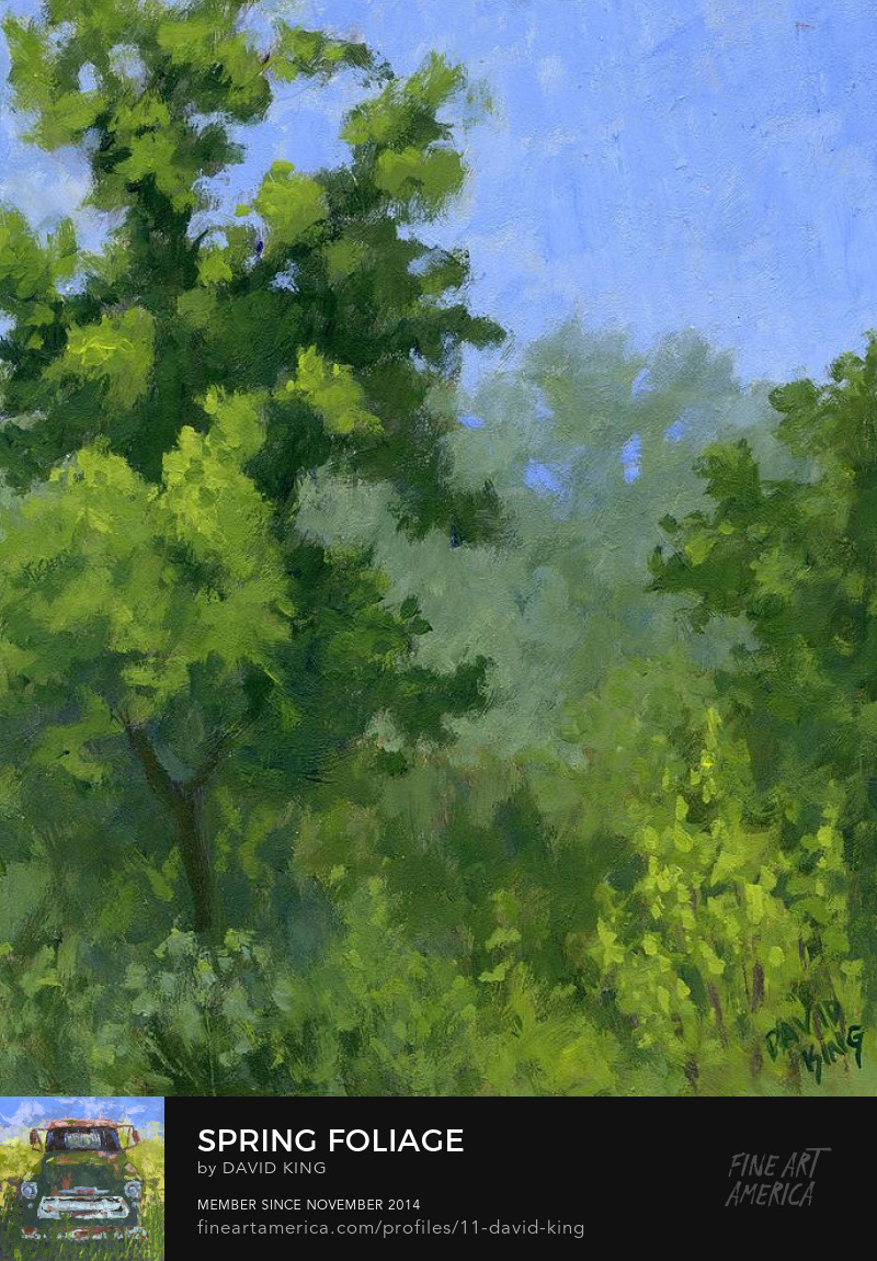 art painting green spring foliage landscape tree bush David King Studio