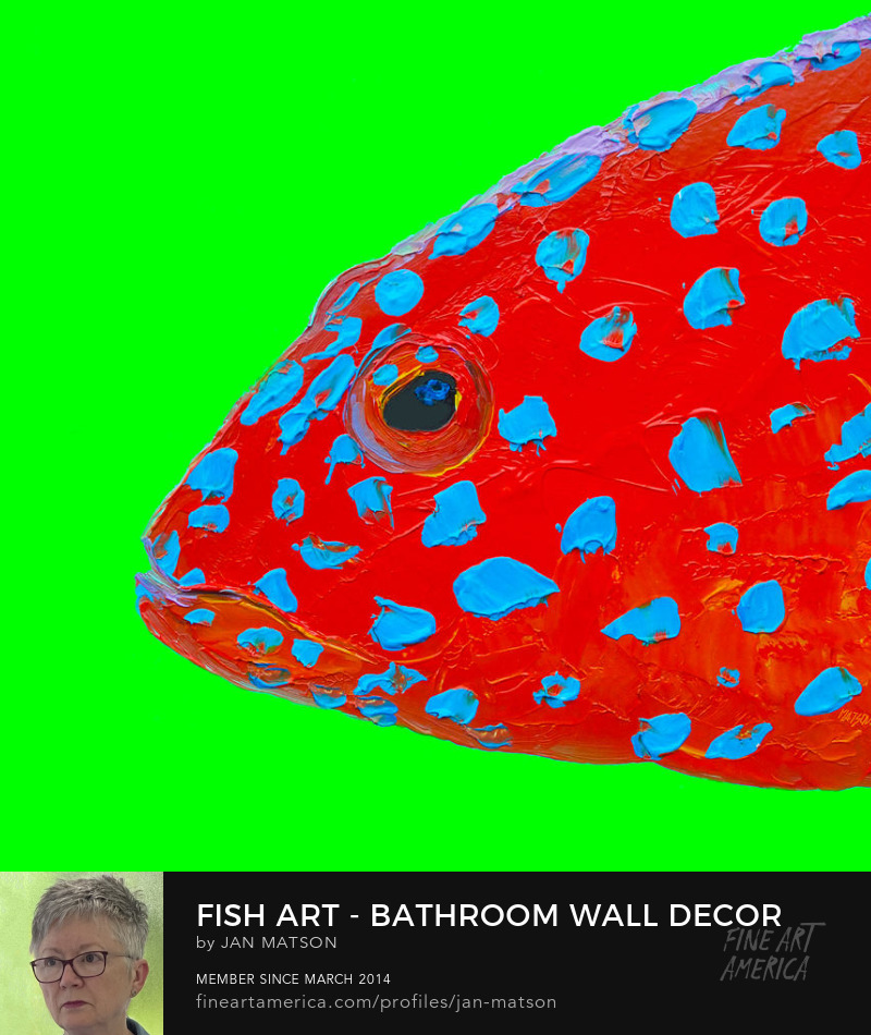 An oil painting of a strawberry grouper fish on a bright green background.