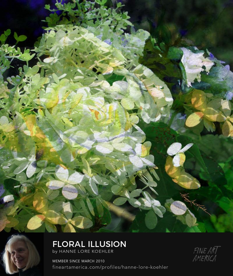 Abstract Impressionist Hydrangea Garden Art