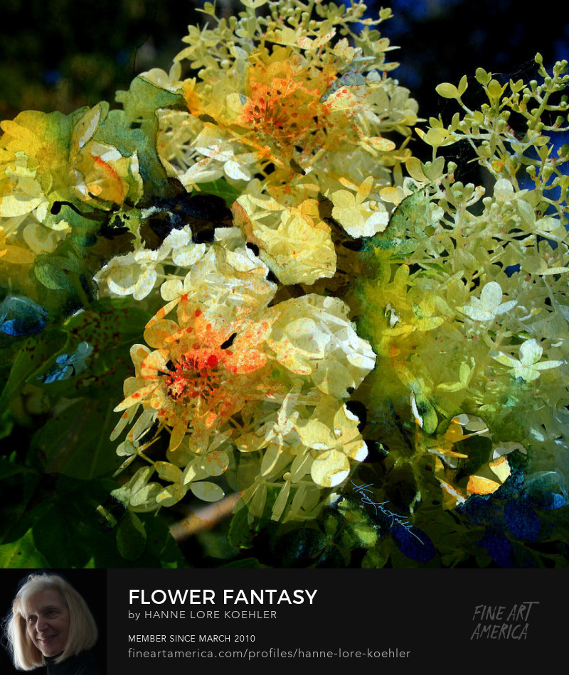 Abstract Impressionist Hydrangea Garden Art