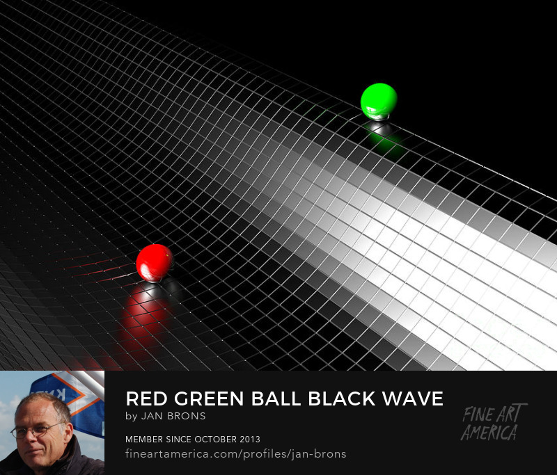 Red Green Ball Black Wave - Photography Prints