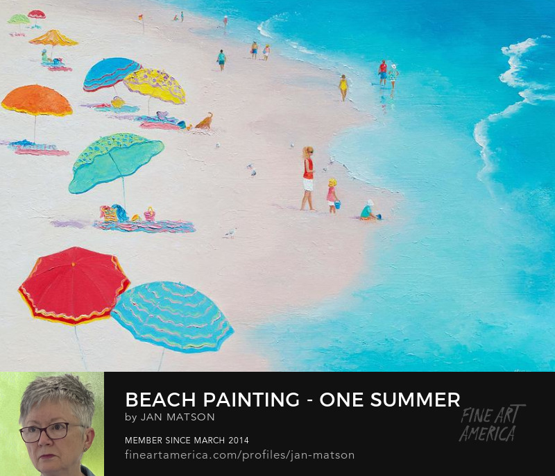 Beach prints of original beach paintings. This one has colorful beach umbrellas.
