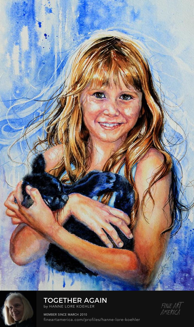 Child Holding Kitten Watercolor Portrait