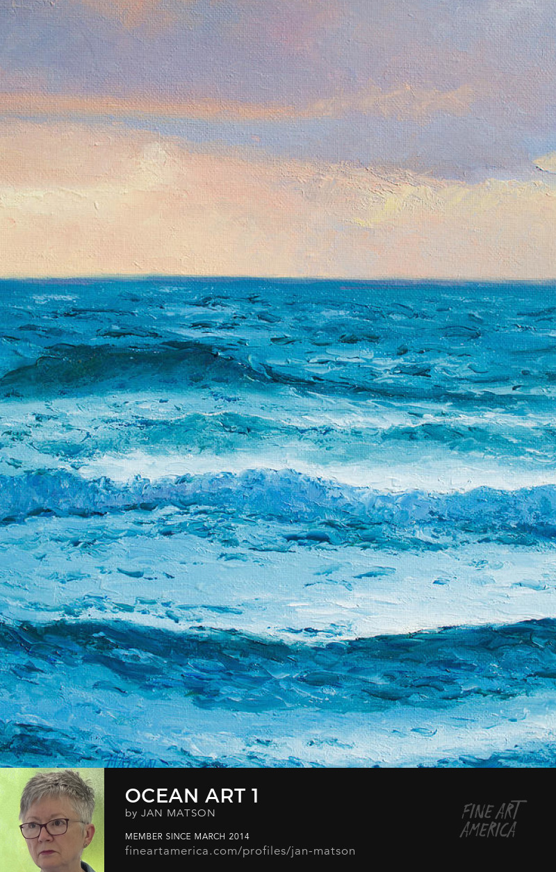 An oil painting of the ocean at dusk. An ocean art print.