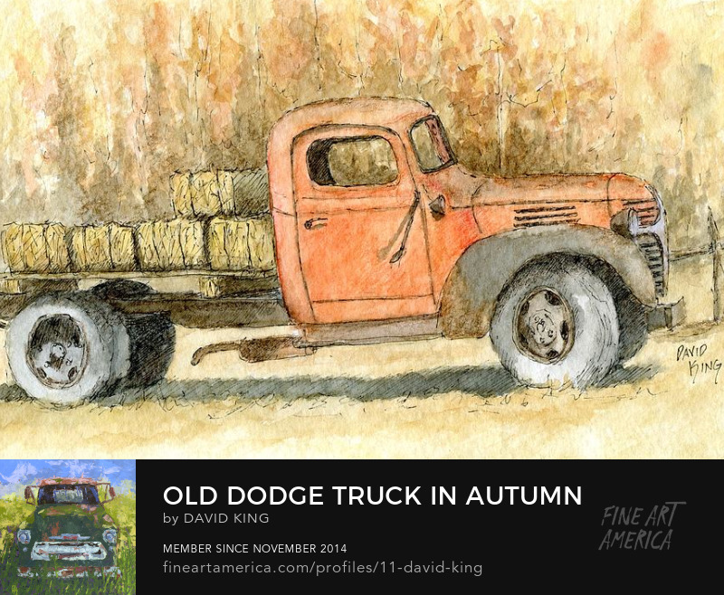 art sketch painting plein air truck antique Dodge autumn hay