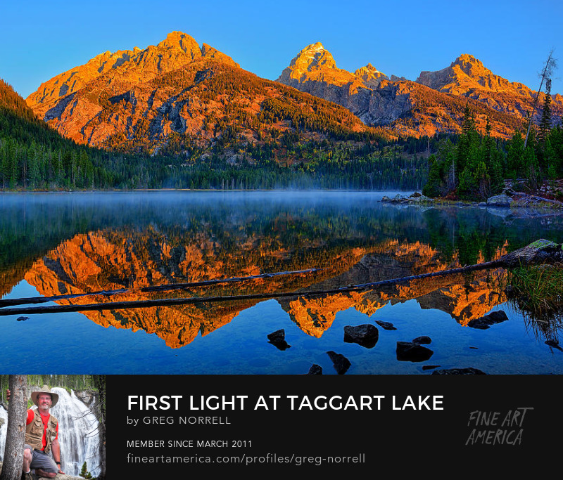 Alpenglow light on the Tetons along Taggart Lake