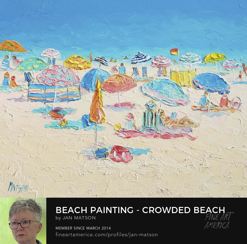 Oil painting of colorful beach umbrellas and people relaxing at the seaside.