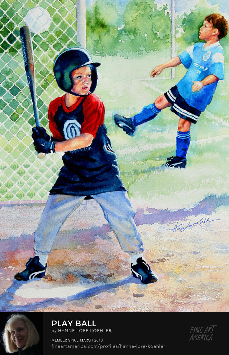 Art Prints of Children Playing Baseball and Soccer