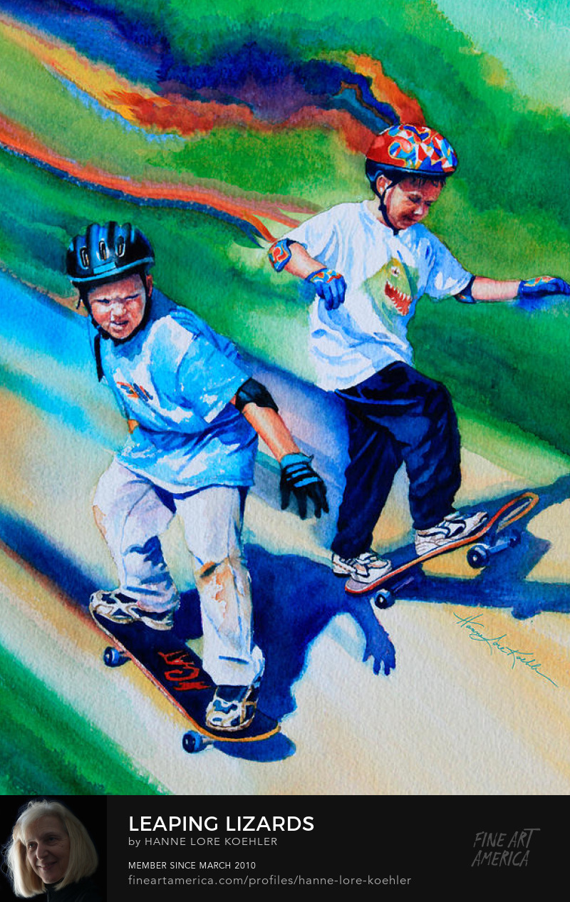 Skateboard Sports Art for children