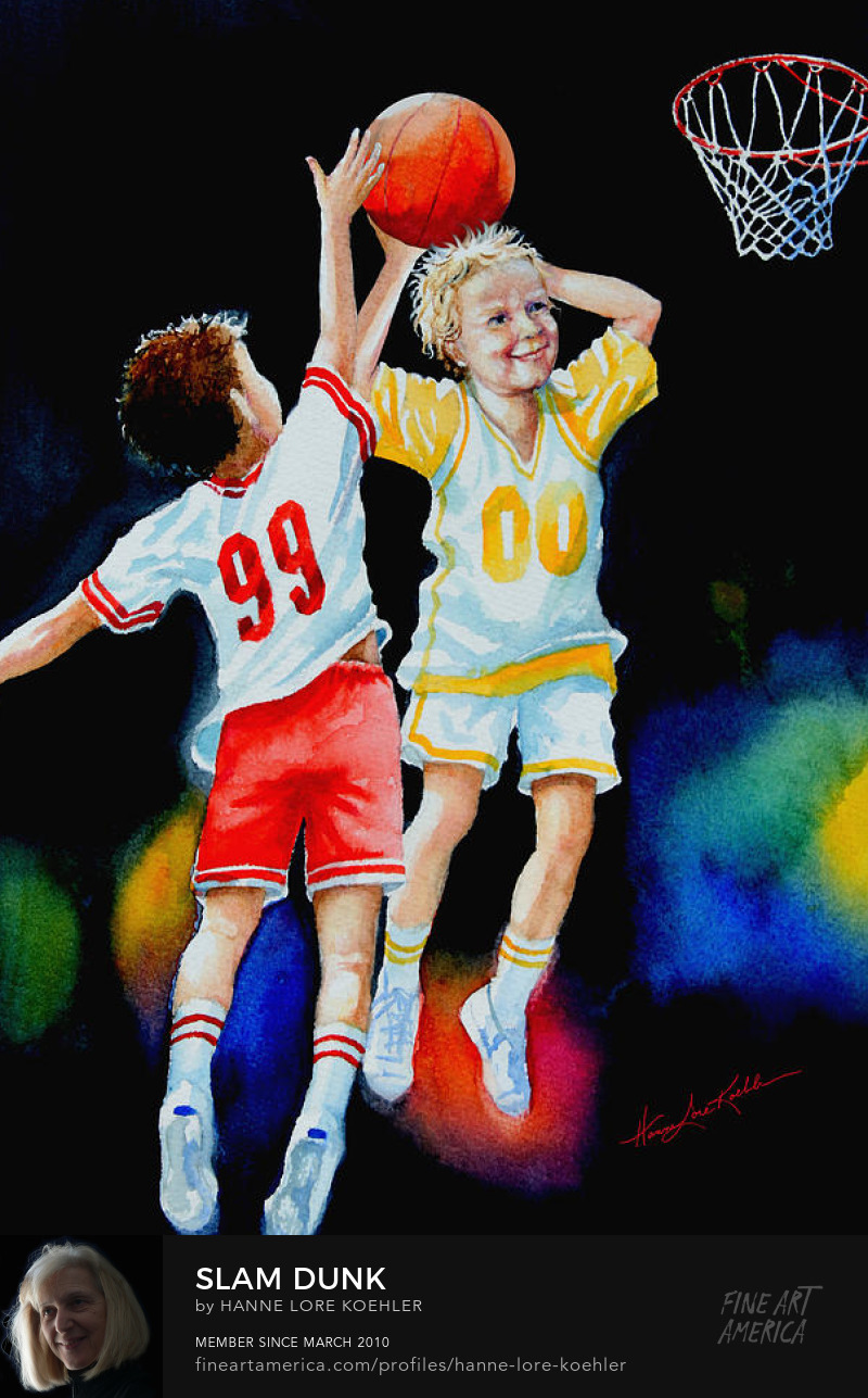 Art Prints Of Children Playing Basketball