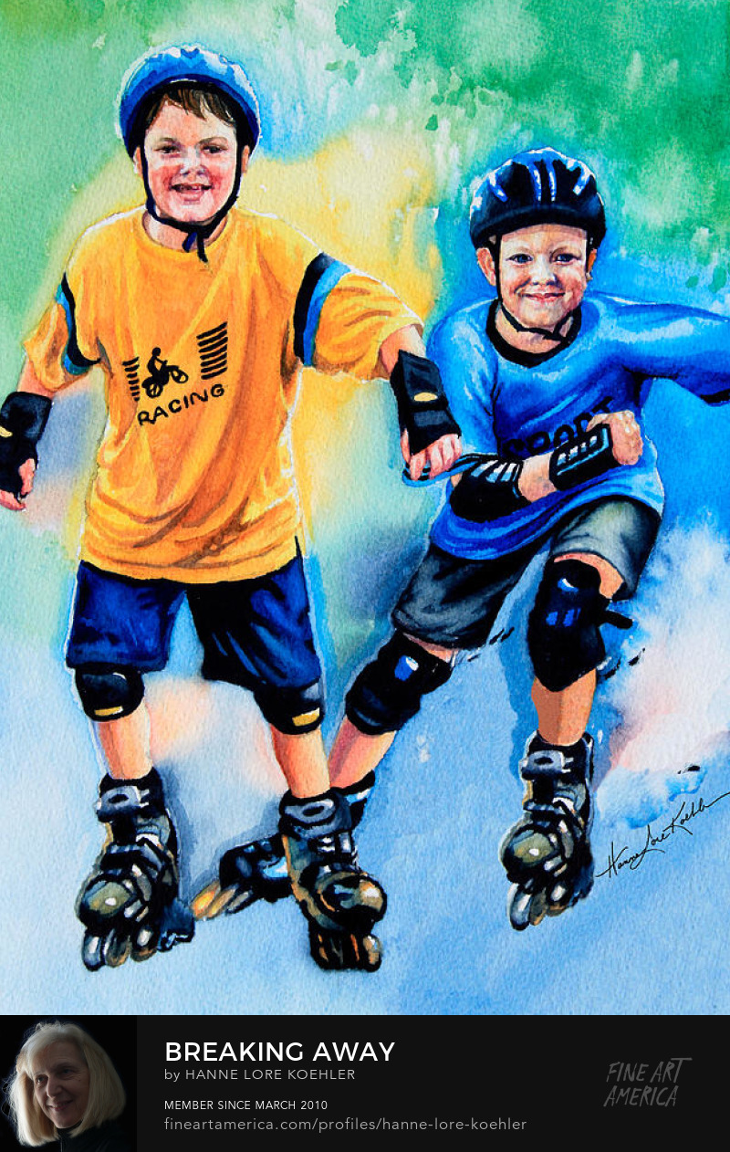 Kids Roller Blading Art Prints