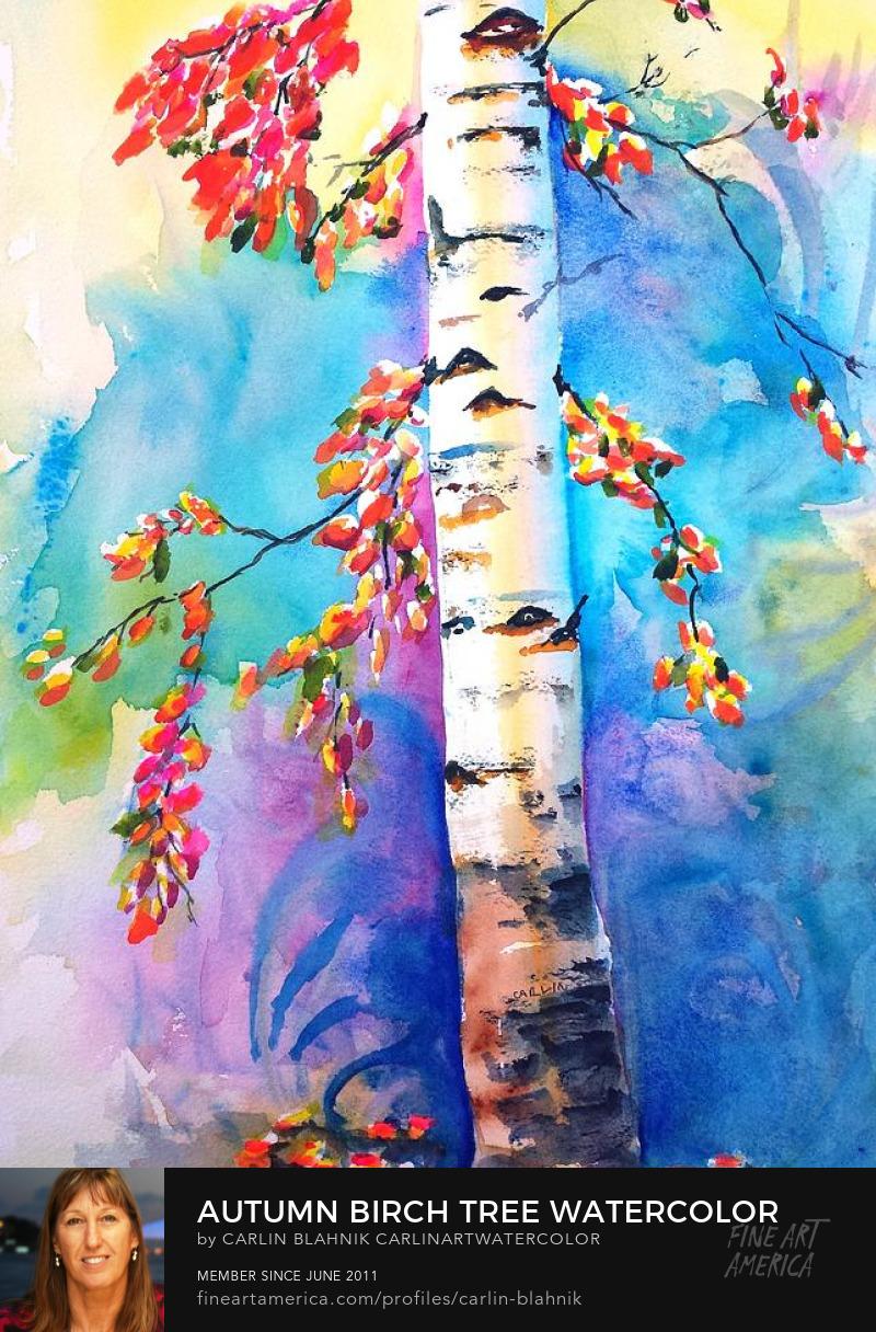 Birch Tree Watercolor Painting Print by Carlin Blahnik