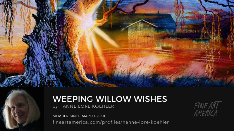 Weeping Willow Farm Sunset Painting And Art Prints