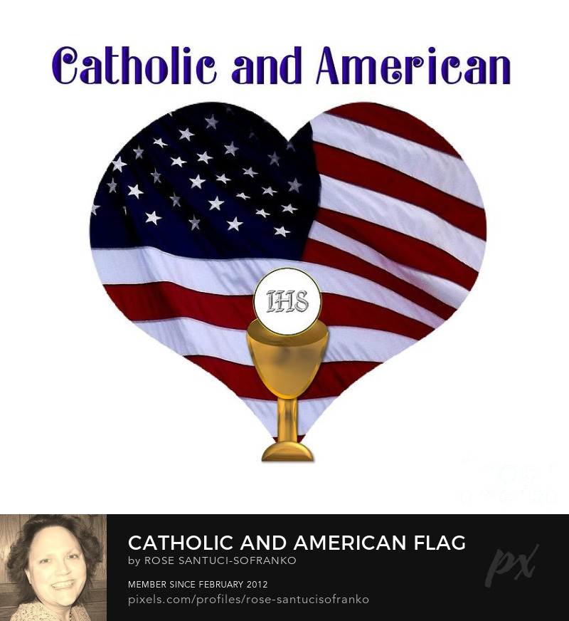 Catholic And American Flag And Holy Eucharist Photography Prints