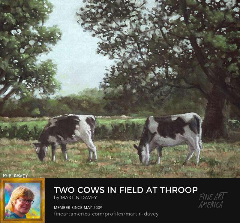 Two Cows In Field At Throop Dorset Uk-oil painting