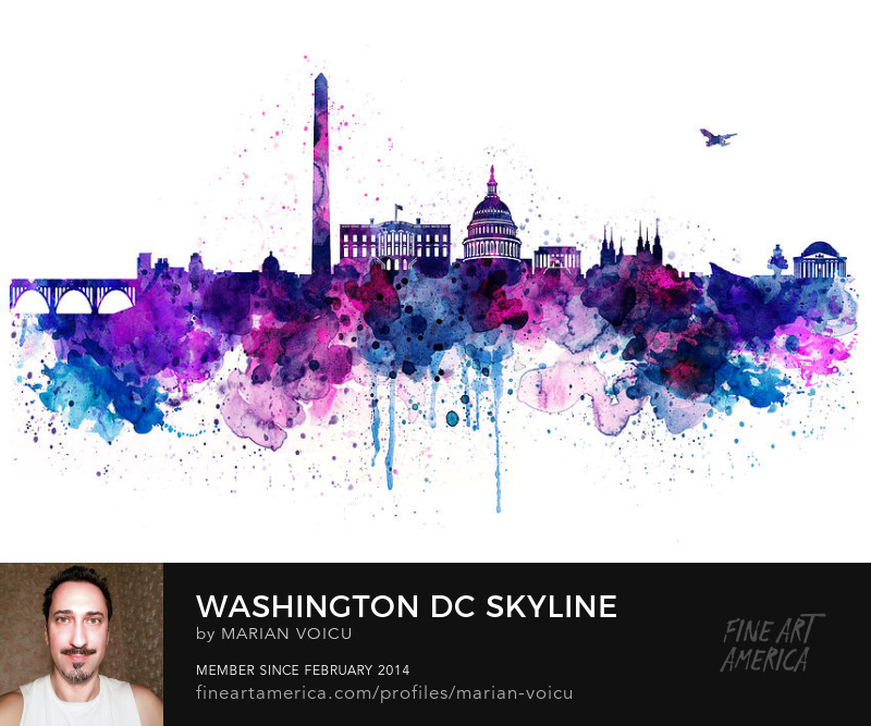 Watercolor skyline painting of Washington DC