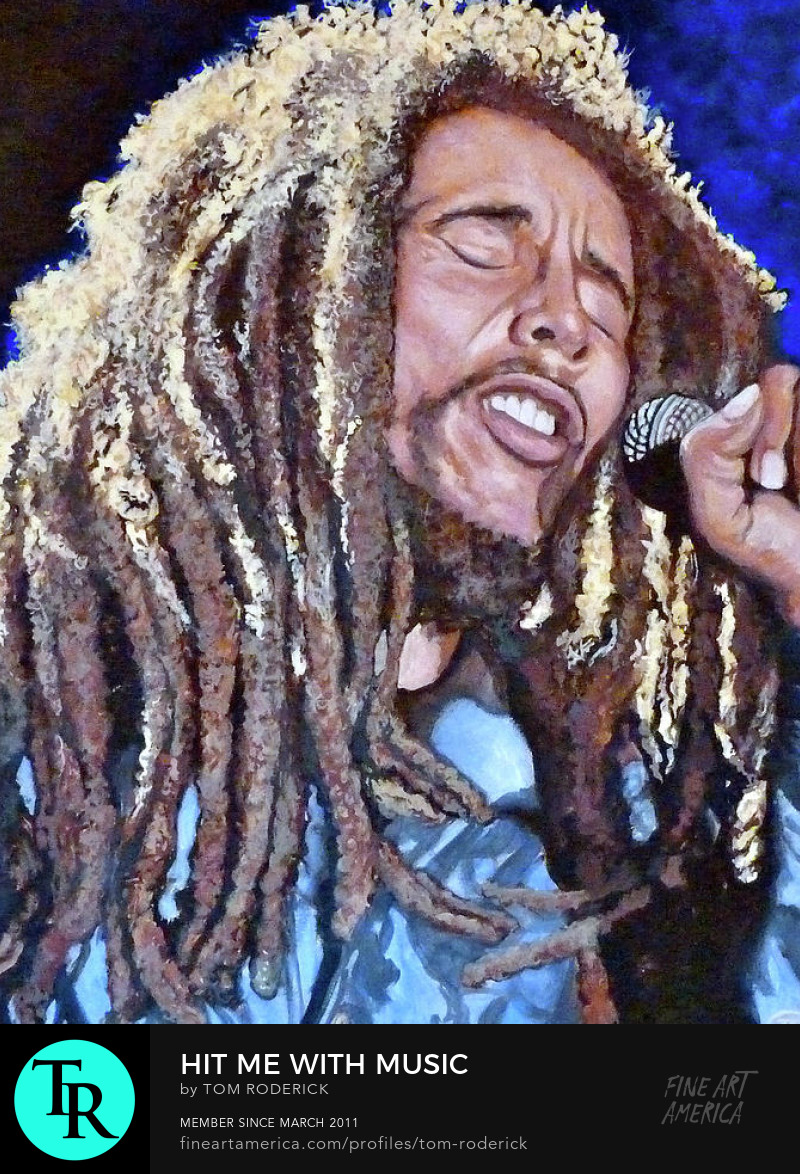 Tribute to Bob Marley by Boulder portrait artist Tom Roderick