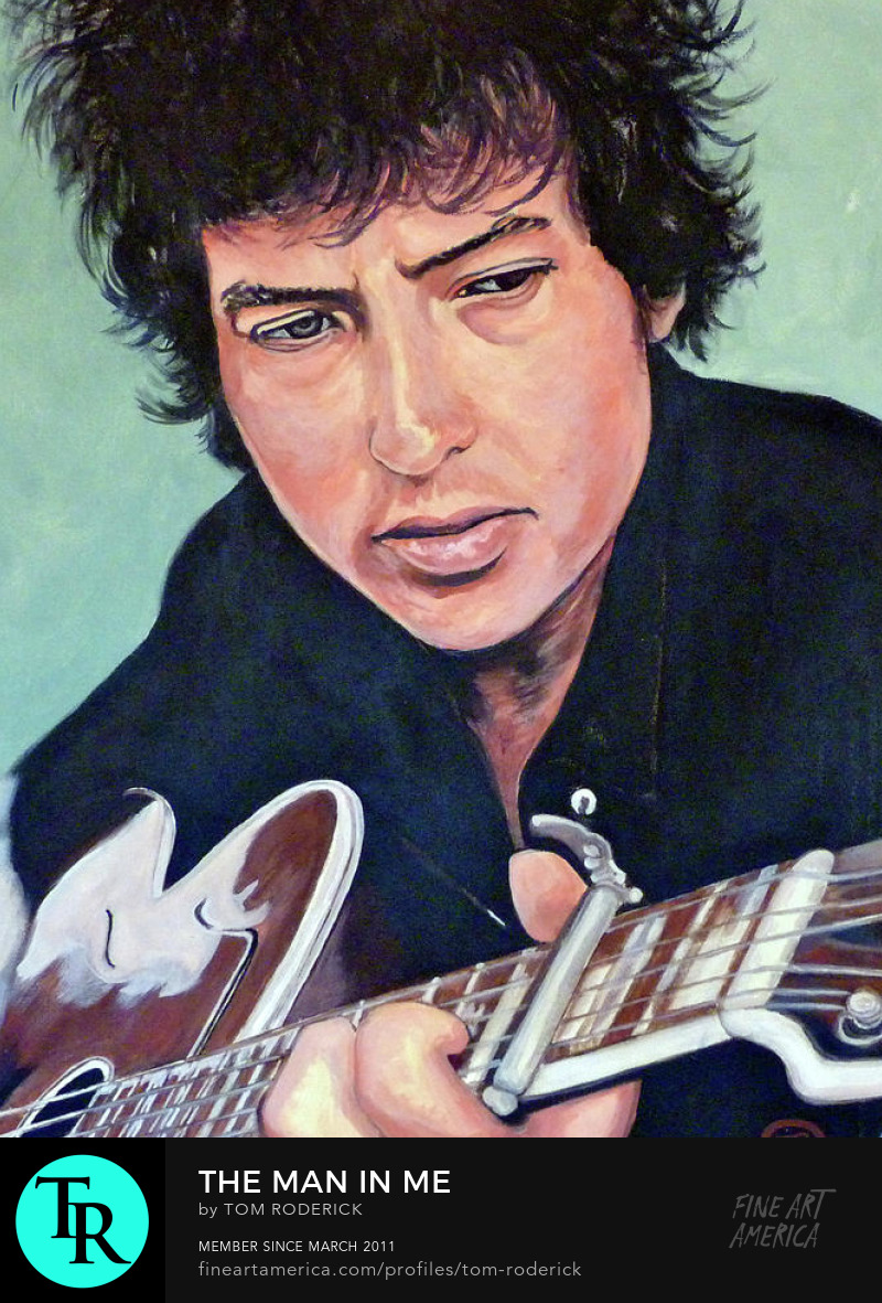Portrait of Bob Dylan playing the guitar by Boulder artist Tom Roderick